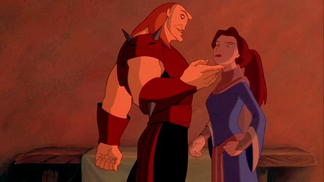 alt=Baron Ruber from Quest for Camelot taunts the mother of the main character.