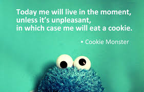 "alt=Picture of the Cookie Monster with a caption of, ""Today me will live in the moment, unless it's unpleasant, in which case me will eat a cookie."""
