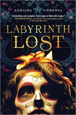 alt=book cover for Labyrinth Lost: title with image of a woman's face covered in a Dia de los Muertos mask.