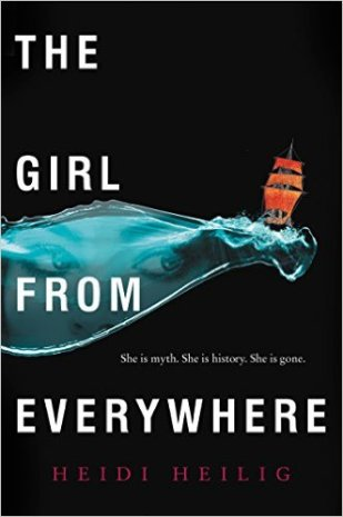 "alt='IMAGE DESCRIPTION: A black background with the image of water in the middle and a ship with orange sails on the wave. A girl's eyes can be seen in the water. The words ""The Girl From Everywhere"" are superimposed on the left side of the cover. The subheader is ""She is myth. She is history. She is gone."" The author's name is written in red text at the bottom.'"