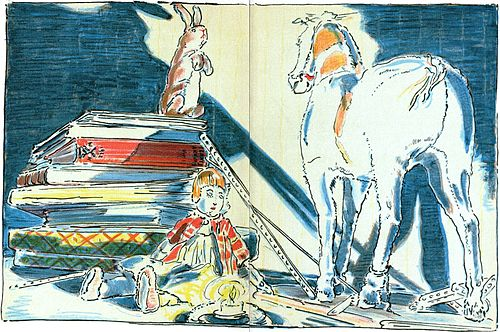 alt=Illustration from the book, where the velveteen rabbit is sitting on a pile of books talking with the skin horse, who stands on the floor next to a doll.