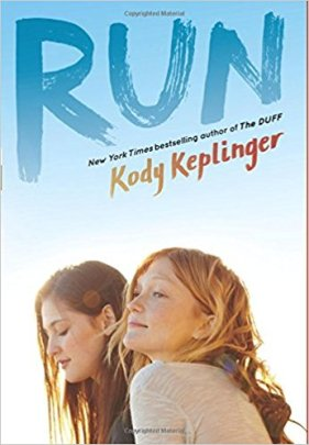 "alt=Book cover for ""RUN."" Two girls sit side-by-side, one looking down and the other looking off in the distance with a blue and white background."